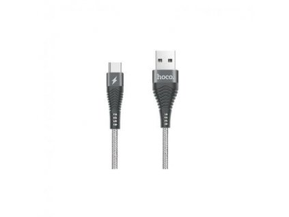 Hoco Unswerving Steel Braided Type-C Charging Cable (1.2m) (Grey)