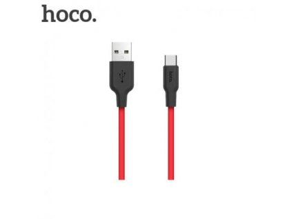 Hoco Silicone Type-C Charging Cable (1m) (Black and Red)